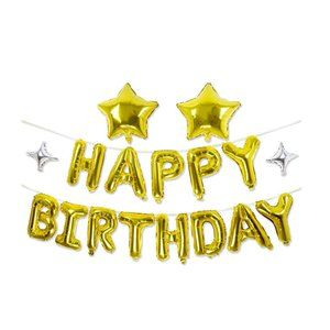 Happy Birthday Gold Foil Balloon set & stars